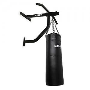 Klarfit-Kit-Musculation-Sac-de-Frappe-Punching-Ball-Boxe-et-Barre-de-Traction-Murale-350-Kilos-max-Fixation-Murale-Acier-Noir-et-Cuir-0