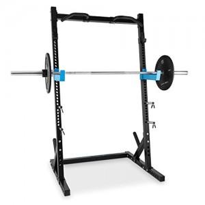 Capital-Sports-Racktor-Half-Rack-station-pour-haltres-avec-J-Hooks-et-Safety-Spotter-barre-de-traction-multi-poignes-incluse-porte-poids-acier-noir-0