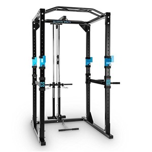 Capital-Sports-Tremendour-Power-Rack-Cage-Squat-Station-de-Musculation-2-x-Safety-Spotter-20-hauteurs-4-x-J-Hooks-Barre-de-Traction-multiprise-Construction-Massive-en-Acier-Noir-0