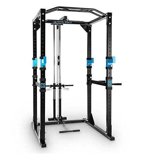 Capital-Sports-Tremendour-Power-Rack-Cage-Squat-Station-de-Musculation-2-x-Safety-Spotter-20-hauteurs-4-x-J-Hooks-Barre-de-Traction-multiprise-Construction-Massive-en-Acier-Noir-0