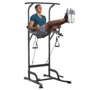 Station-de-Traction-Musculation-Multifonctions-Chaise-Romaine-Hauteur-rglable-Acier-Noir-0-0