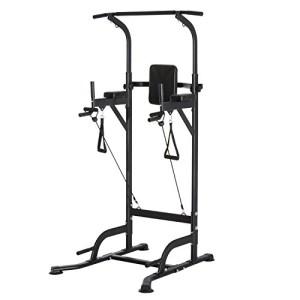 Station-de-Traction-Musculation-Multifonctions-Chaise-Romaine-Hauteur-rglable-Acier-Noir-0