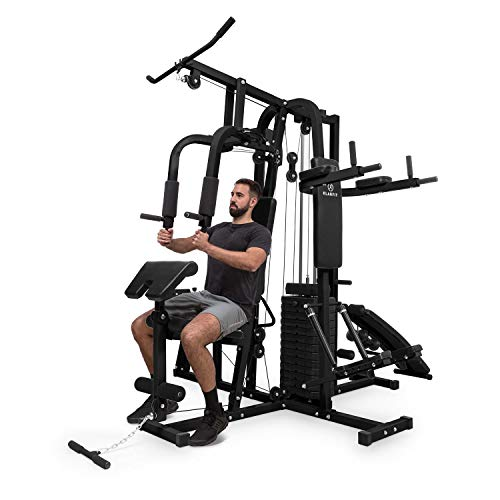 Klarfit-Ultimate-Gym-9000--Station-de-musculation-multifonction--Diptowerbanc-dinversionsteppertractionpresse--jambesstation-dabdoscurls100-exercices-pour-2-personnes-max150kg--noir-0