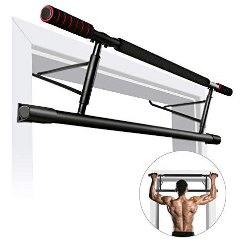 ROMIX-Barre-de-Tractions-180-kg-Supportable-Multifonctions-Pull-Up-Bar-avec-Poignes-Rembourres-Pas-de-Vis-Barre-Traction-Porte-pour-Chin-Up-Musculation-L-Assis-Gym-et-Autre-Exercice-0